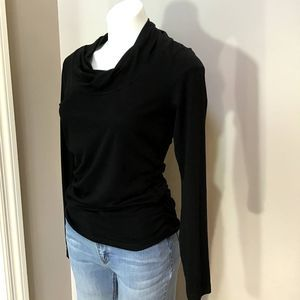 Cabi Black Twist Neck Ruched Long-sleeve Top S